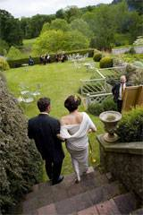 Wedding - steps to garden terrace